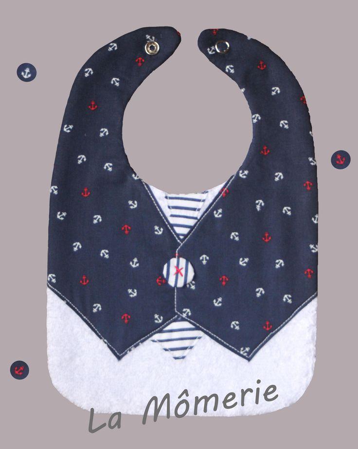 Bavoir bébé chic gilet marin et cravate rayures marines : Mode Bébé par la-momerie