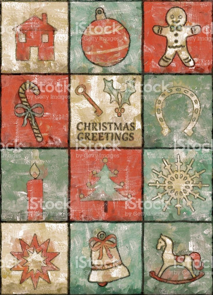 Vintage Christmas Card Painting royalty-free stock illustration