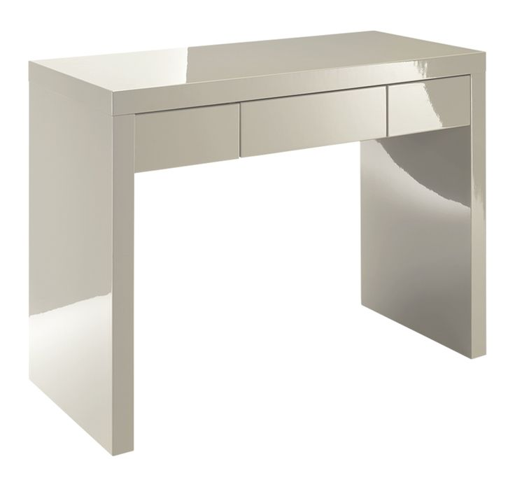 This Gleam Dressing Table is perfect for creating a clean and minimal look in the bedroom. With its calming stone colour, modern high gloss finish and simple, a