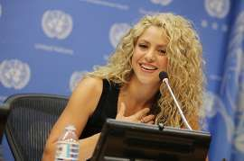 Shakira speaks during a press conference following the Meeting Of The Minds: Investing In Early Childhood Development As The Foundation For Sustainable Development Meeting at United Nations on Sept. 22, 2015 in New York City.