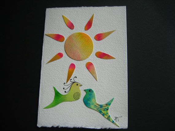 Card without text The sun is shining Watercolor bird by Noukshouk
