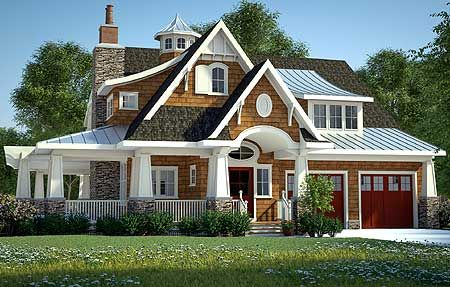 Love the exterior- shaker shingle, stone and metal roof. Look at that porch!