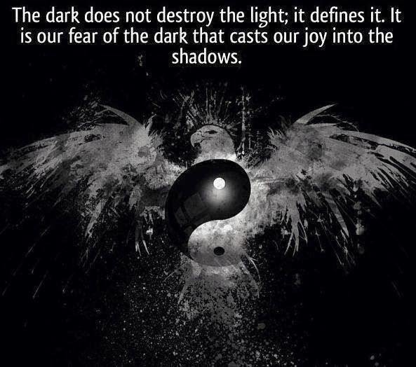 The dark does not destroy the light; it defines it. It is our fear of the dark that casts our joy into the shadows. | Anonymous ART of Revolution