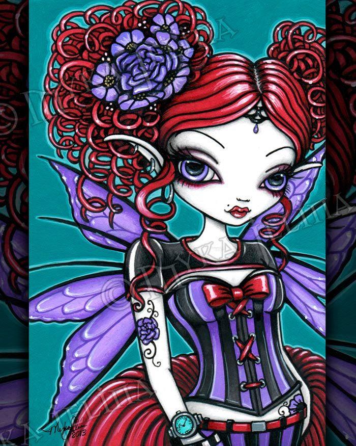 Rosie Gothic Fairy Rose Tattoo Pixie Signed Fine Art Print by MykaJelina on Etsy https://www.etsy.com/listing/166892203/rosie-gothic-fairy-rose-tattoo-pixie