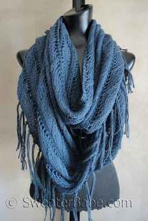 #123 Sophisticated Boho Eternity Scarf PDF Knitting Pattern. This best-selling pattern begs to be re-knit by me in a vibrant spring/summer color! Maybe in a gorgeous shade of sky blue? Definitely in the same Blue Sky Alpacas Alpaca Silk, which was the perfect choice for this sample for knitting enjoyment and resulting drape! SweaterBabeKnittingGiveaway