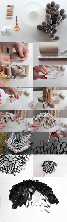 lampara tubos carton DIY muy ingenioso 2