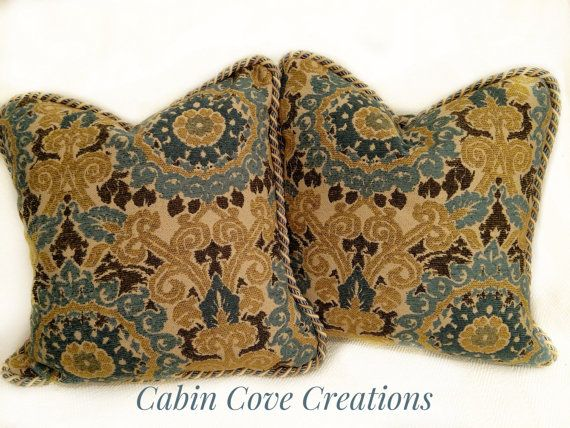 Custom Designer Decorative Pillows 2 Tapestry Chenille Medallions Blue  Green Brown Tan Down Inserts 20 In Designs By Cabin Cove Creations