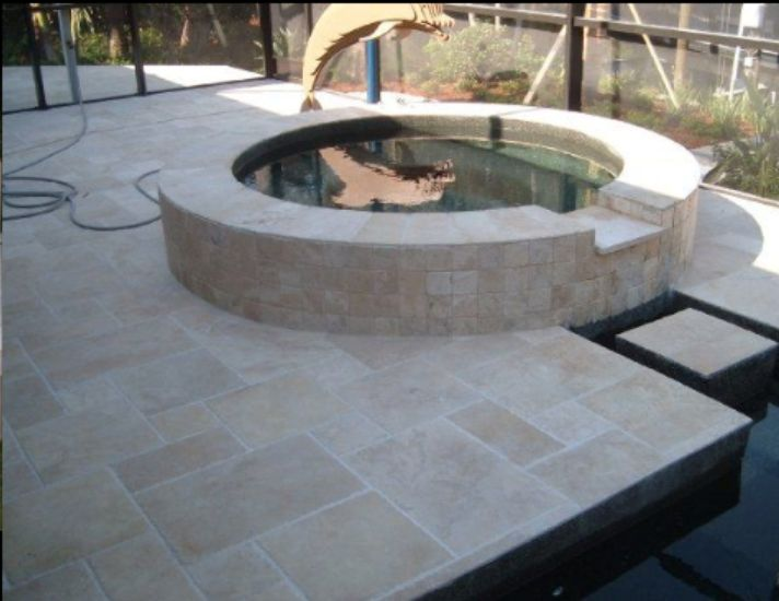 Travertine Spa And Outdoor Pool Area Travertine Pavers