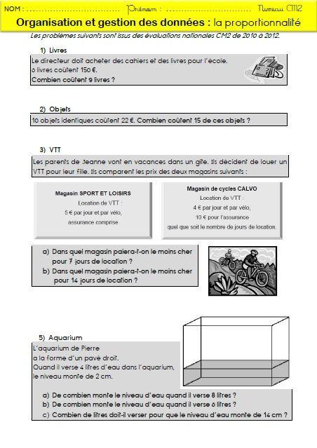 La proportionnalité : mémos et exercices pour les CM2   Proportionnalité, Cm2 et Exercices ...
