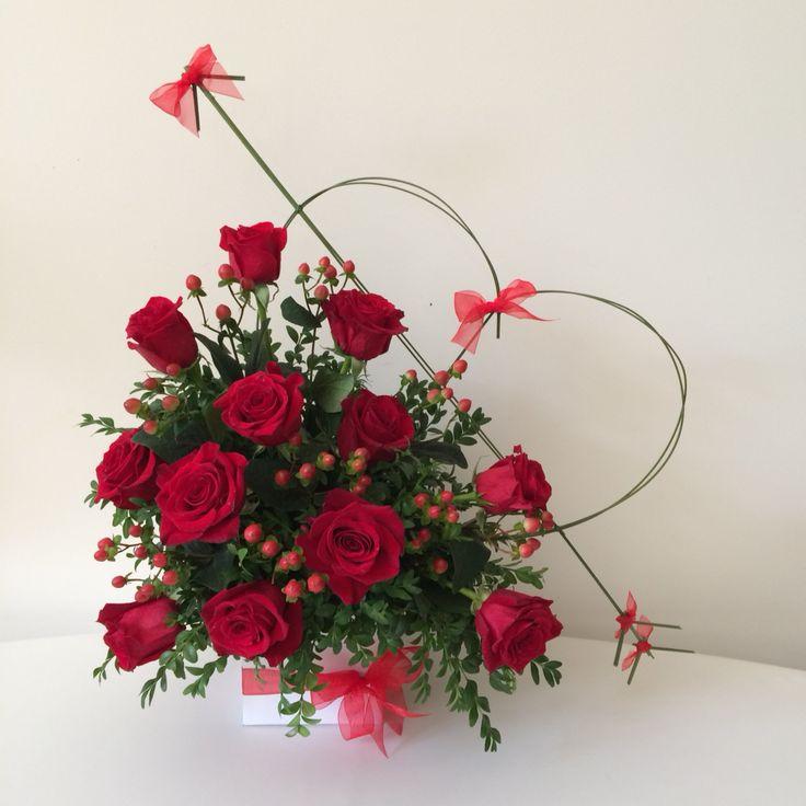 Contemporary dozen of red roses-Happy Valentine's!