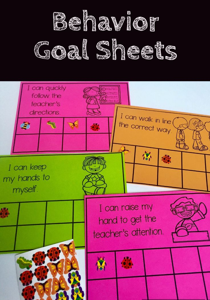 Student behavior goal sheets are a great resource to track positive behaviors for students needing more support in following classroom rules.  Include a simple visual picture as a reminder of the expected behavior and a sticker log of students.