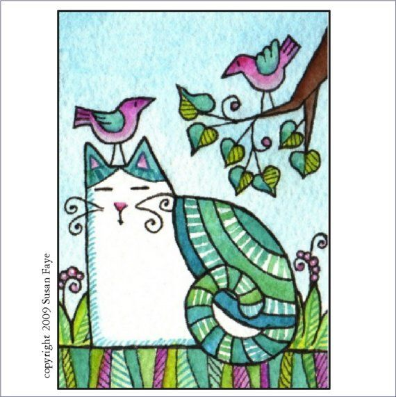 Whimsical Cat and Birds/ Whimsical Art by SusanFayePetProjects