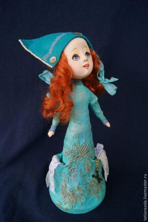 Купить Ангел Тата. - бирюзовый, рыжая девочка, рыжая кукла, ангел, портной, швейные принадлежности