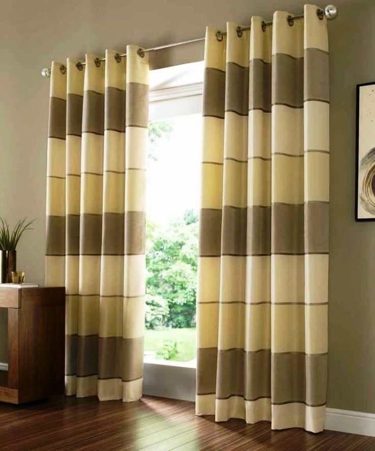 Living Room:Cleanly Laminate Floor Mixed With Chocolate Wall Paint Also Modern Brown Striped Curtains Design Modern Curtain Beautifies Your Window on Living Room