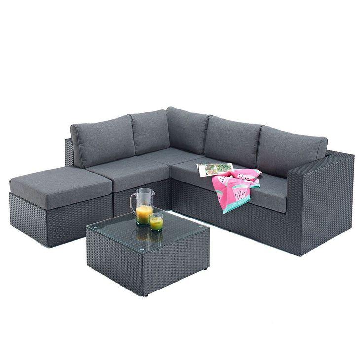 Garden Corner Sofa Set Left Hand Black Rattan Aluminum Cushion Outdoor Furniture