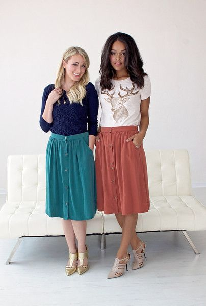Button Front Skirt With Side Pockets