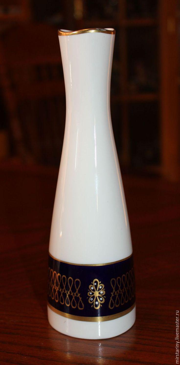 Купить Красивая, фарфоровая ваза, отделка кобальт с золотом, Германия, 1945+ - белый, тёмно-синий