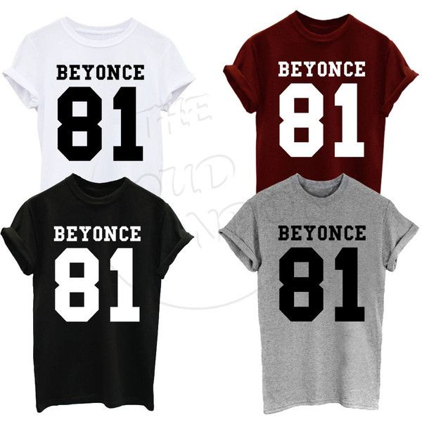Beyonce 81 Number Knowles Destiny 1981 Music Tour Band Fashion Funny... ($7.95) ❤ liked on Polyvore featuring tops, t-shirts, sleeve t shirt, unisex tops, white top, bear tee and unisex t shirts