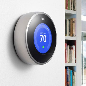 Nest: The Learning Thermostat.  It programs itself and adjusts to save energy when you're away. Plus, you can connect Nest to Wi-Fi to change the temperature from anywhere using your smartphone or tablet.