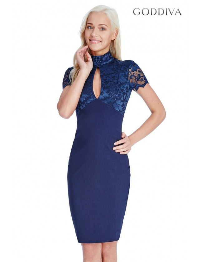 High Neck Keyhole Midi Dress - Navy - Front - DR779