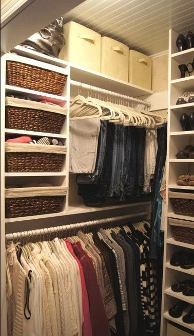 If you add extra shelves on top of the rod in your closet, you can store out-of-season clothes here instead of in hall closets (those are better suited for linens, anyway).