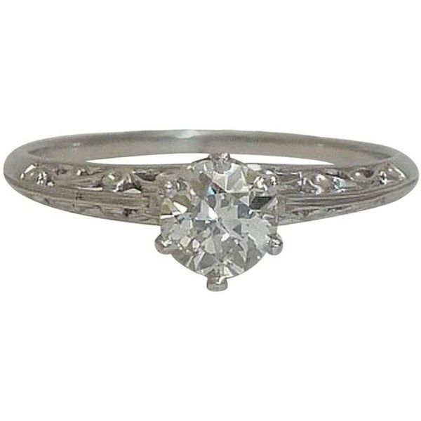 Preowned Edwardian 0.41 Carat Diamond Platinum Filigree Ring ($1,495) ❤ liked on Polyvore featuring jewelry, rings, multiple, pre owned engagement rings, filigree rings, antique rings, antique platinum rings and diamond band ring