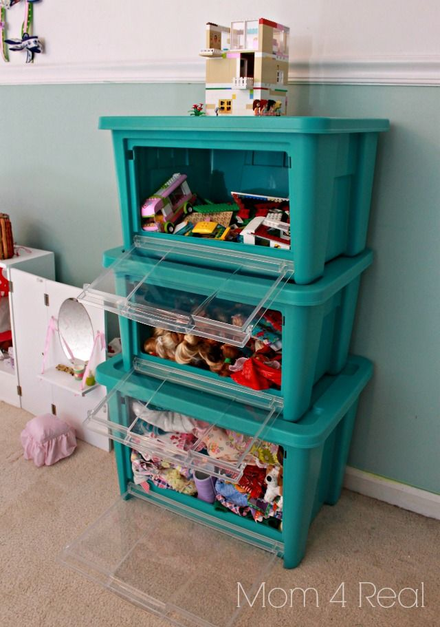 Organize Toys Using Front Opening Stackable Bins!