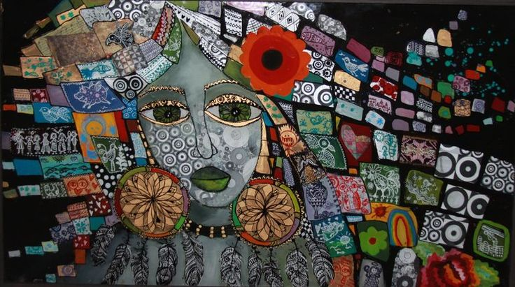glass painting and collage