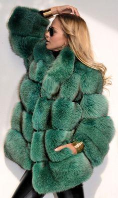 Royal Saga Fox Fur Jacket in Green.
