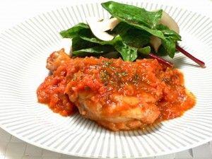 骨付き鶏もも肉のトマト煮込み