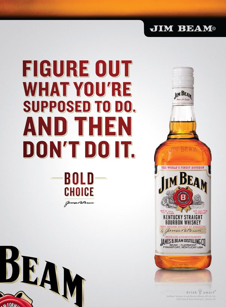 Jim Beam, what a great idea for an ad.  Bold choice, like selling out to the Japanese....