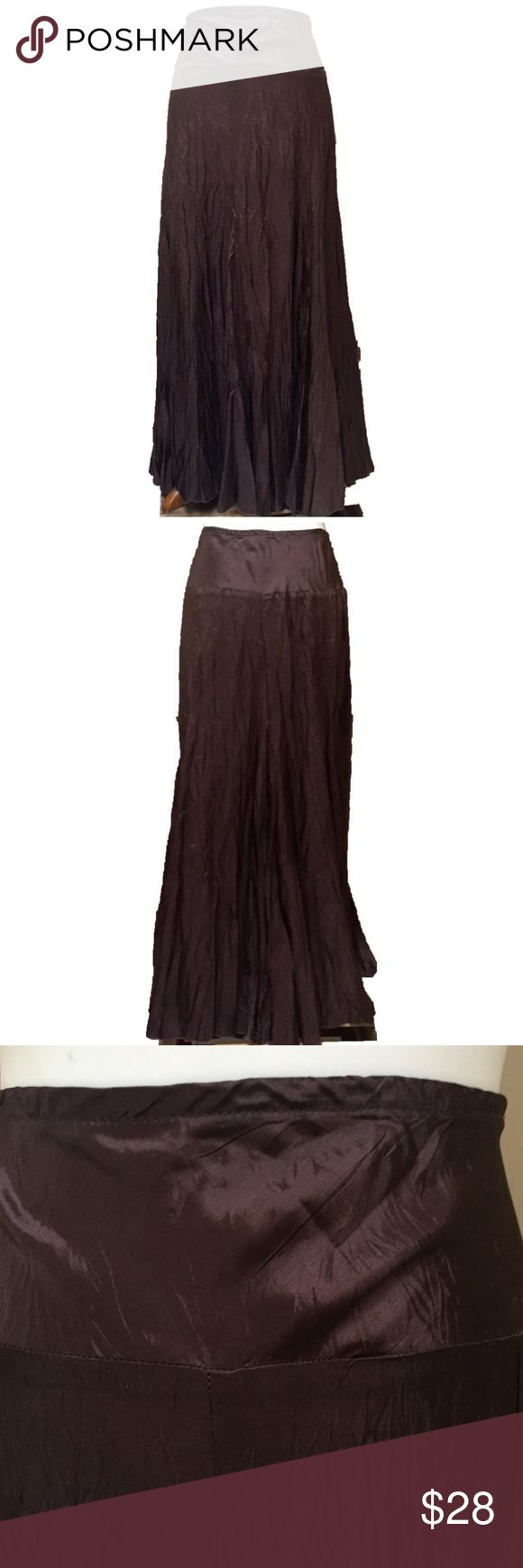 "NWT Karen Kane Brown Pull On Crinkle Maxi Skirt Chocolate brown crinkle fabric maxi skirt by Karen Kane is NWT. Pretty and comfortable. Can be casual with a t-shirt or dressed up with a tailored top. Great with flat or heels. Elastic waist. 100% acetate. Size L, measurements are flat and approximate: Waist: 15 1/2"" Length 37"" Karen Kane Skirts Maxi"