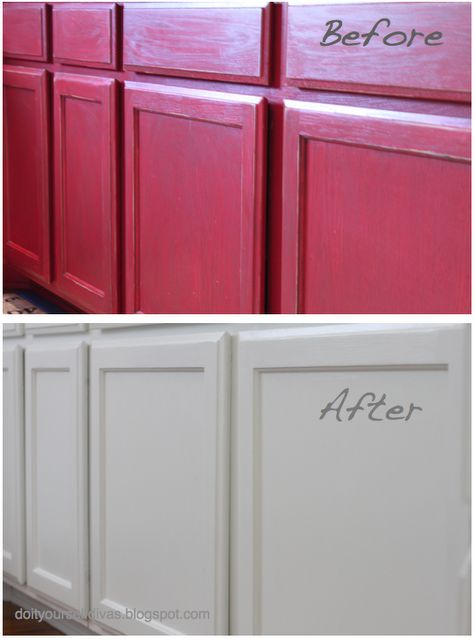 Do It Yourself Divas: DIY: How To Paint Over Red Painted Cabinets/Walls