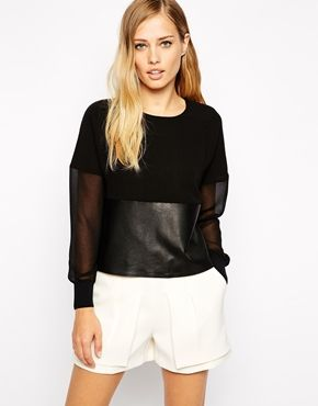 Enlarge Whistles Top with Faux Leather Trim