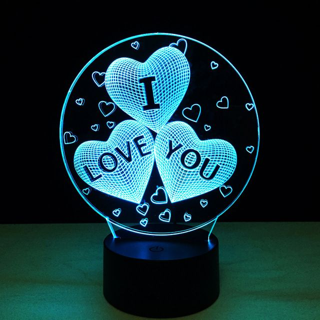 7 Colors Change 3d Led Light Heart Gift Led Night Light Night Light Creative Lamps