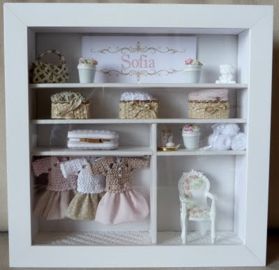 No room for a big dollhouse?  Try a miniature shadow box