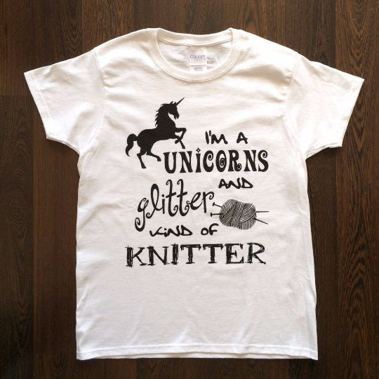 Unicorns and Glitter Kind of Knitter Ladies Tee Shirt - White