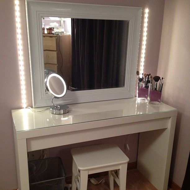 Do-It-Yourself Makeup Vanity    Mirror - Winners  Lights, Malm Vanity Table, Stool - Ikea
