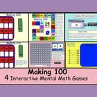 """This is a Smart Notebook 11 file.  There are 6 pages containing 6 interactive """"Mental Math"""" games.  The object of the games is to make 100.      Pg ..."""