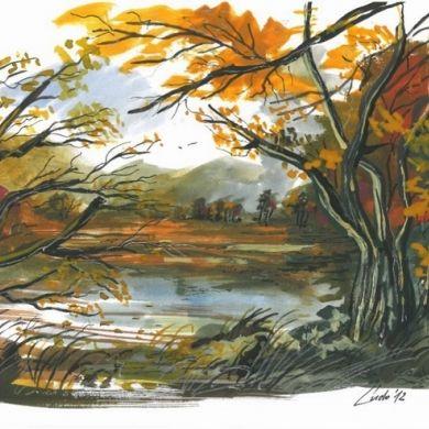 Akvarel A4 obraz, akvarel, príroda, jeseň,žltá, hnedá, voda, ludo66
