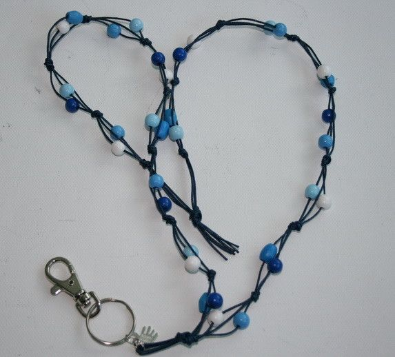 Avainnauha #4 by Miss Piggy / Key chain, ID holder, made with wooden beads and waxed cord