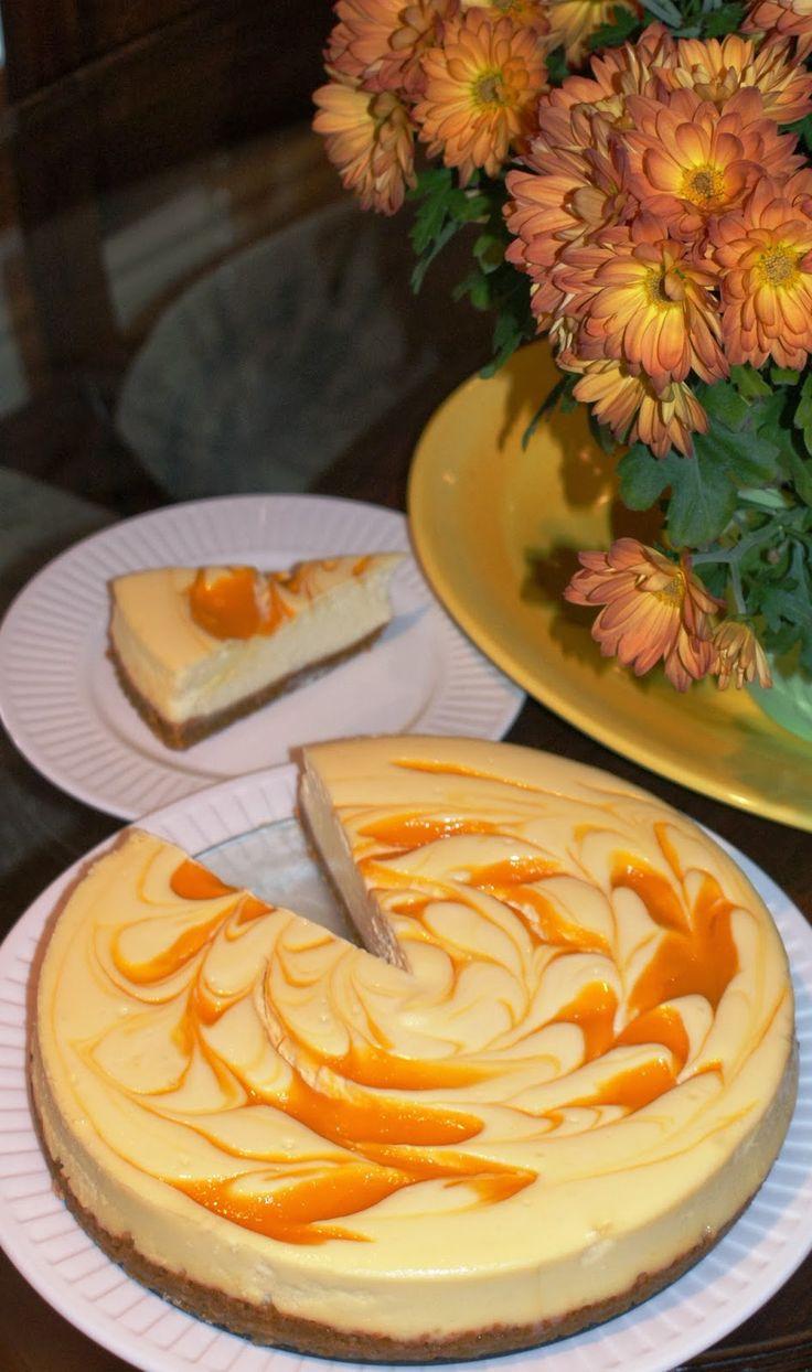 Tropical Mango Swirl Cheesecake - recipe and tutorial