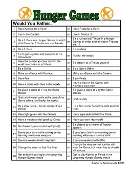 Got a few extra minutes? Ask your students one of these intriguing Would You Rather questions about the Hunger Games by Suzanne Collins. You ca...