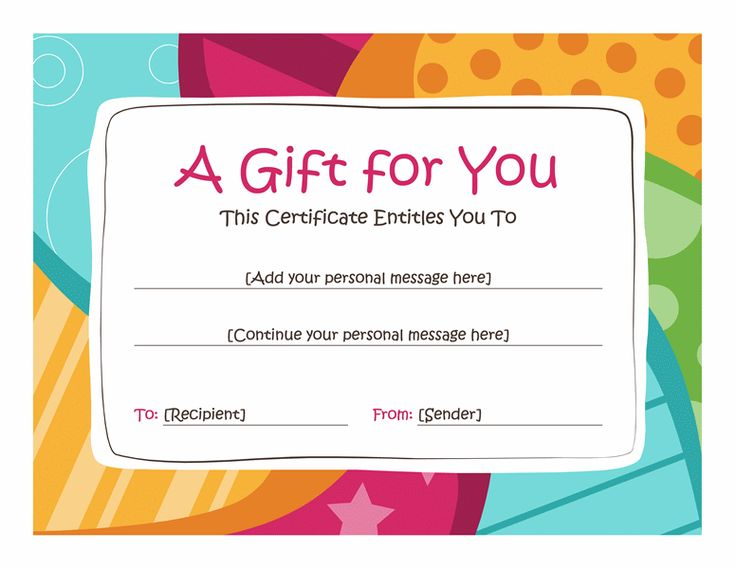 Birthday gift certificate template Free Printables! Pinterest - printable gift certificates free template