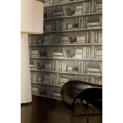 Book wallpaper.  downstairs toilet wallpaper ideas?