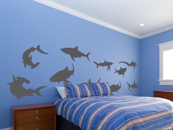 Shark Wall Decal 10 piece Vinyl Wall Decal Set - Great White Shark Wall Decor