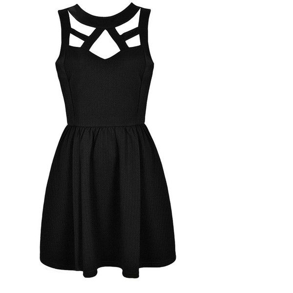 CUT OUT SKATER DRESS Ally Fashion ($30) ❤ liked on Polyvore featuring dresses, vestidos, short dresses, robes, mini dress, cutout mini dress, cut out cocktail dresses and skater dress