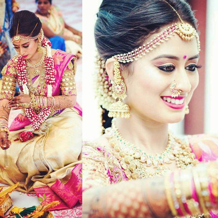South Indian bride. Gold Indian bridal jewelry.temple jewelry.Jhumkis.Cream silk kanchipuram sari with contrast pink blouse.braid with fresh jasmine flowers. Tamil bride. Telugu bride. Kannada bride. Hindu bride. Malayalee bride.Kerala bride.South Indian wedding.
