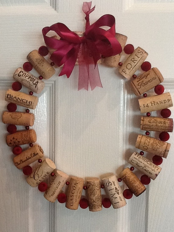 Wine Lovers Burgundy Cork Wreath by DiVineDesignWine on Etsy, $14.99