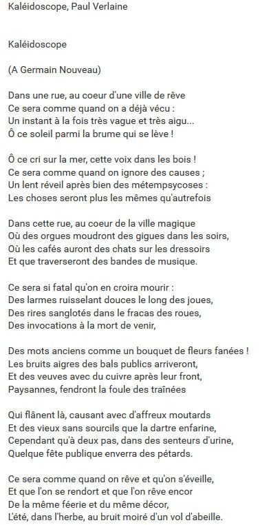 Paul Verlaine - Kaléidoscope https://www.youtube.com/watch?v=FXJSMQ0UfCk